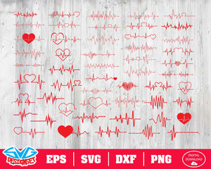 Heartbeat Svg, Dxf, Eps, Png, Clipart, Silhouette and Cutfiles #2