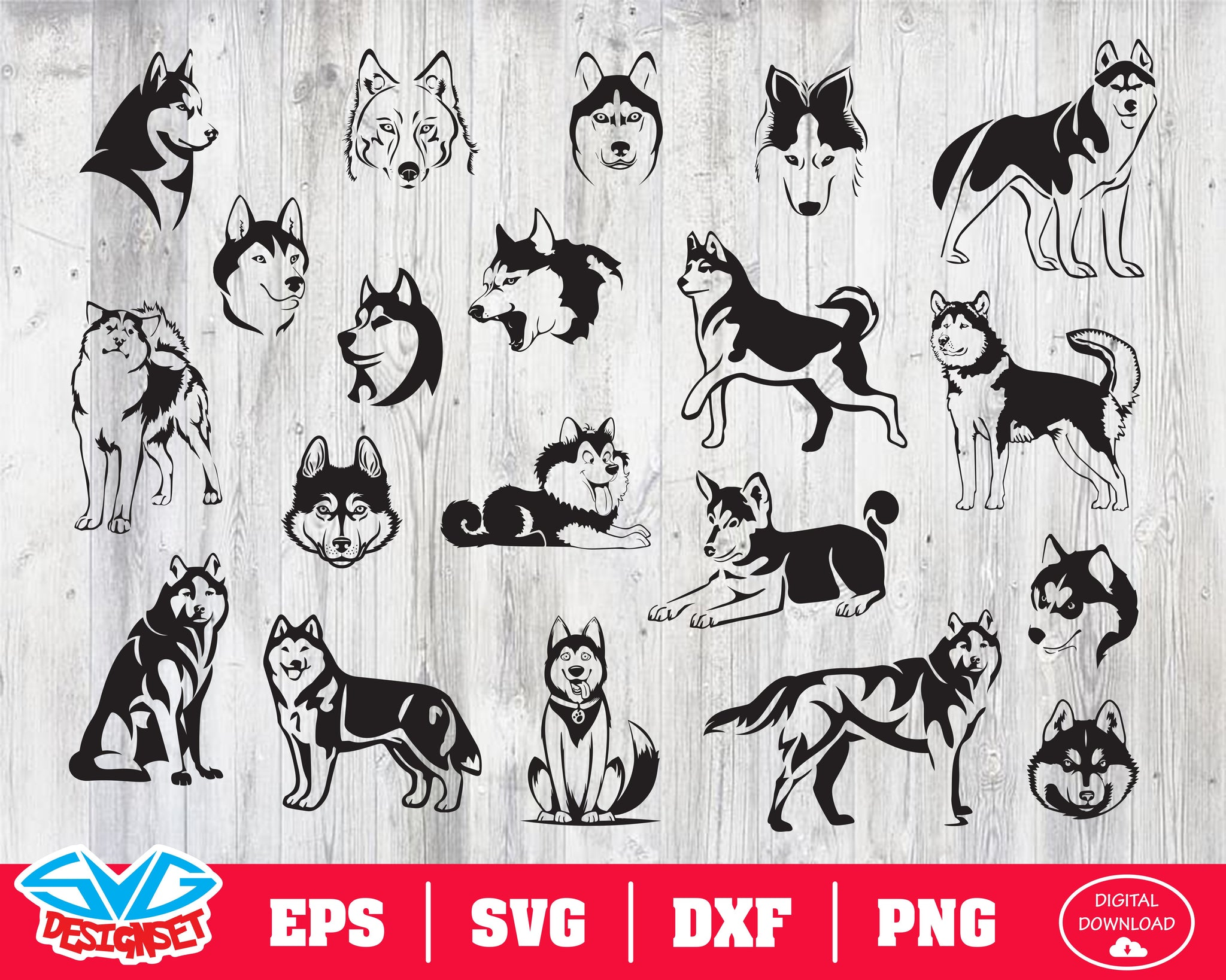 Husky Svg, Dxf, Eps, Png, Clipart, Silhouette and Cutfiles