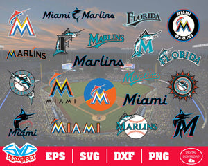 Miami Marlins Team Svg, Dxf, Eps, Png, Clipart, Silhouette and Cutfiles