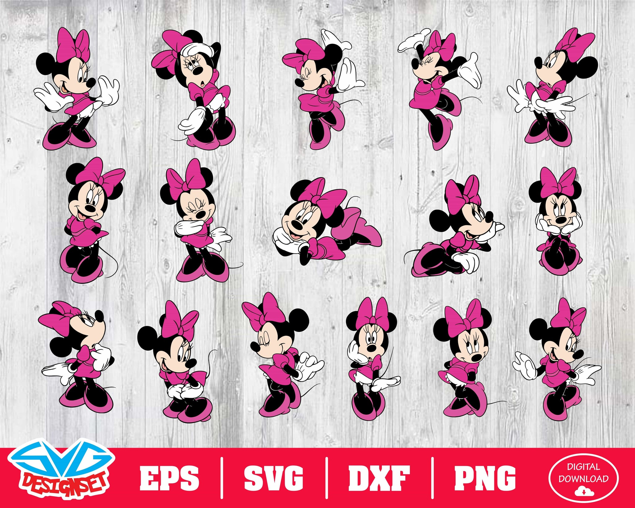 Minnie mouse  Svg, Dxf, Eps, Png, Clipart, Silhouette and Cutfiles #1