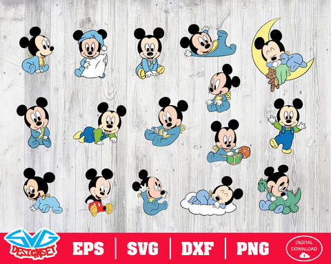 Mickey babies Svg, Dxf, Eps, Png, Clipart, Silhouette and Cutfiles #1