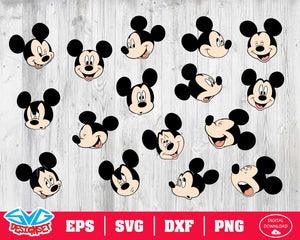 Mickey head Svg, Dxf, Eps, Png, Clipart, Silhouette and Cutfiles #1