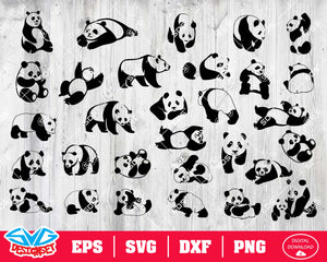 Panda Svg, Dxf, Eps, Png, Clipart, Silhouette and Cutfiles