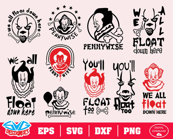 Pennywise IT Big Bundle Svg, Dxf, Eps, Png, Clipart, Silhouette and Cutfiles