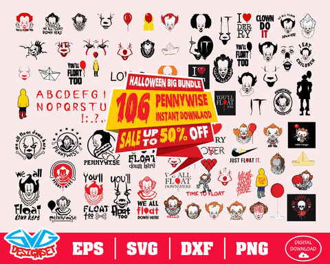 Pennywise Big Bundle Svg, Dxf, Eps, Png, Clipart, Silhouette and Cutfiles