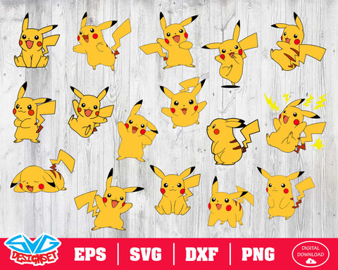 Pikachu Svg, Dxf, Eps, Png, Clipart, Silhouette and Cutfiles #1
