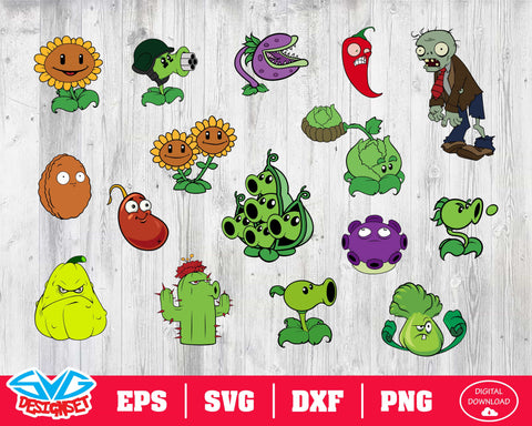 Plants vs Zombies Svg, Dxf, Eps, Png, Clipart, Silhouette and Cutfiles #1