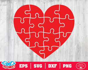 Puzzle heart Svg, Dxf, Eps, Png, Clipart, Silhouette and Cutfiles #2