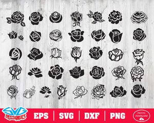 Rose Svg, Dxf, Eps, Png, Clipart, Silhouette and Cutfiles #1