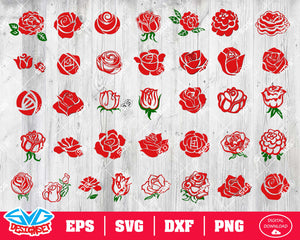 Rose Svg, Dxf, Eps, Png, Clipart, Silhouette and Cutfiles #2
