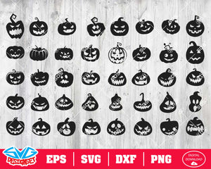 Scary pumpkins Svg, Dxf, Eps, Png, Clipart, Silhouette and Cutfiles