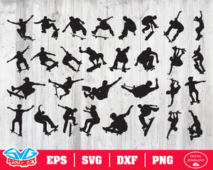 Skateboarder Svg, Dxf, Eps, Png, Clipart, Silhouette and Cutfiles