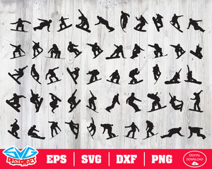 Snowboarder Svg, Dxf, Eps, Png, Clipart, Silhouette and Cutfiles