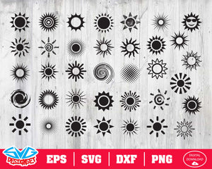 Sun icon Svg, Dxf, Eps, Png, Clipart, Silhouette and Cutfiles