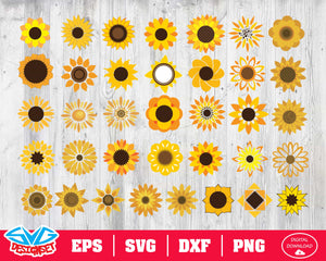 Sunflower Svg, Dxf, Eps, Png, Clipart, Silhouette and Cutfiles