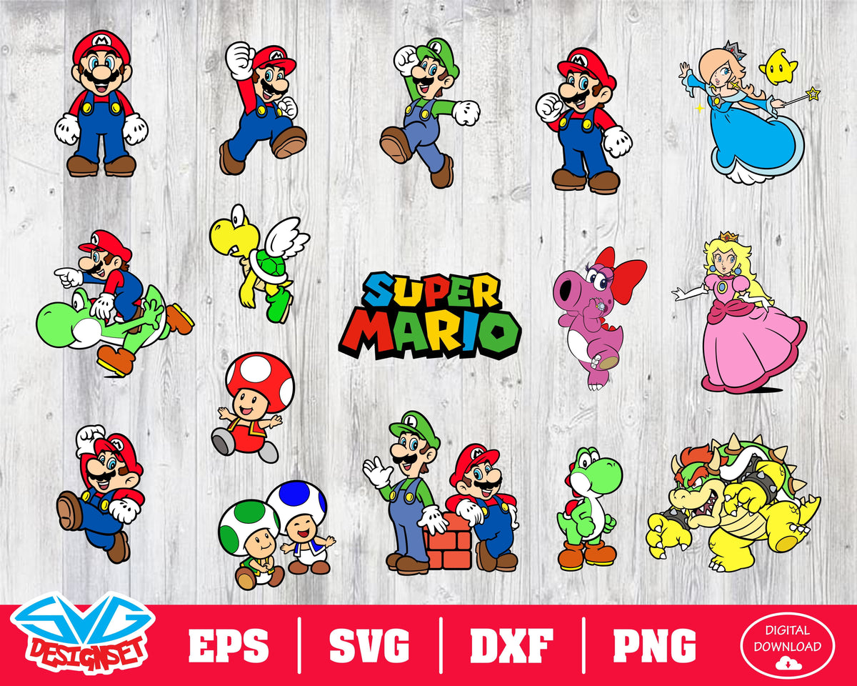 Super Mario Svg Dxf Eps Png Clipart Silhouette And Cutfiles