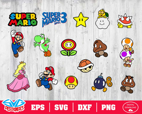 Super Mario Svg, Dxf, Eps, Png, Clipart, Silhouette and Cutfiles #2