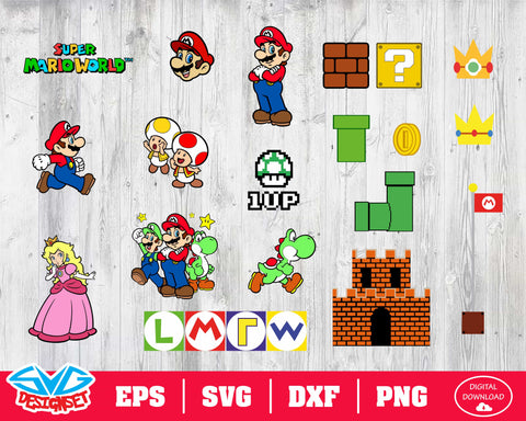 Super Mario Svg, Dxf, Eps, Png, Clipart, Silhouette and Cutfiles #3