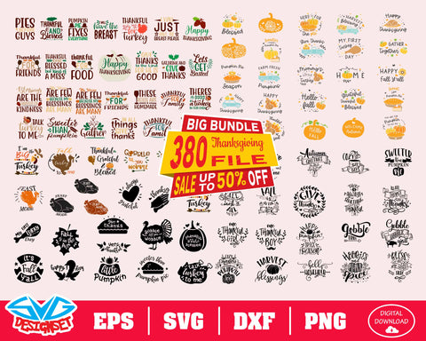 Thanksgiving Big Bundle Svg, Dxf, Eps, Png, Clipart, Silhouette and Cutfiles #2