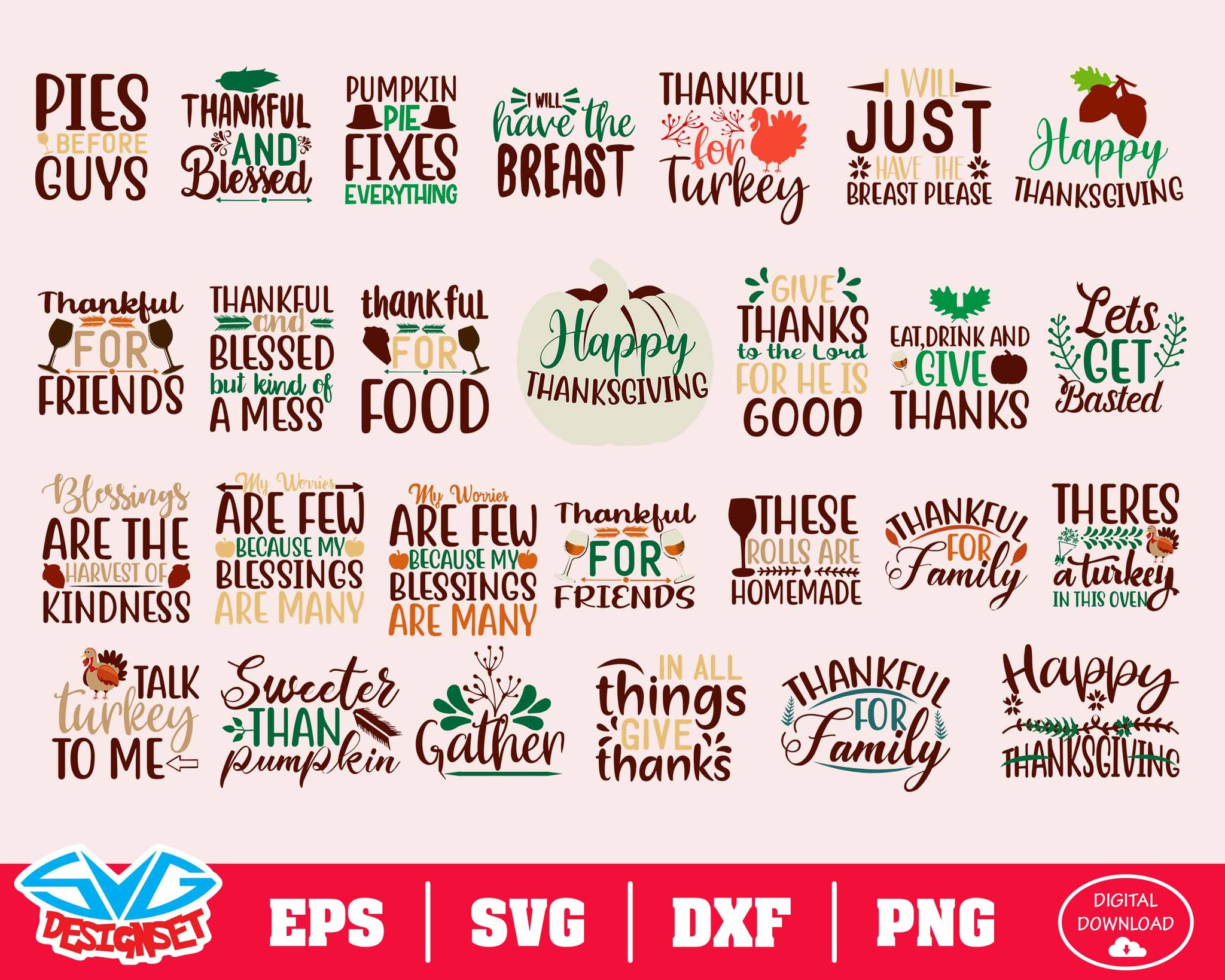 Thanksgiving Svg, Dxf, Eps, Png, Clipart, Silhouette and Cutfiles #1