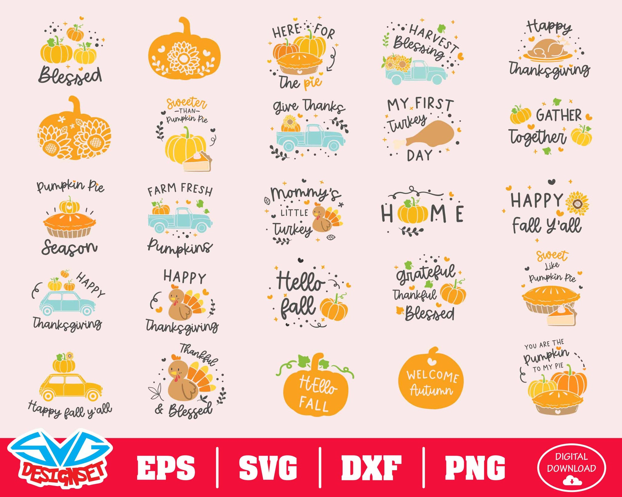 Thanksgiving Svg, Dxf, Eps, Png, Clipart, Silhouette and Cutfiles #2