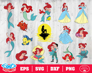 The Little Mermaid Svg, Dxf, Eps, Png, Clipart, Silhouette and Cutfiles #1