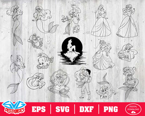 The Little Mermaid Svg, Dxf, Eps, Png, Clipart, Silhouette and Cutfiles #2
