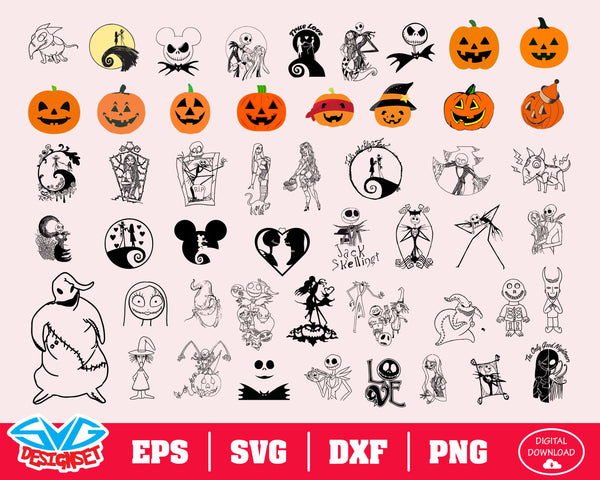 The Nightmare Before Christmas Bundle Svg, Dxf, Eps, Png, Clipart, Silhouette and Cutfiles