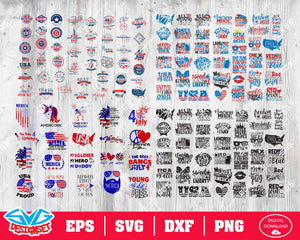 Fourth of July Big Bundle Svg, Dxf, Eps, Png, Clipart, Silhouette and Cutfiles