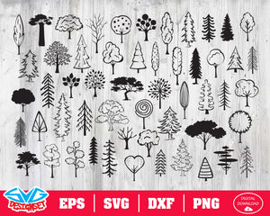 Tree Svg, Dxf, Eps, Png, Clipart, Silhouette and Cutfiles