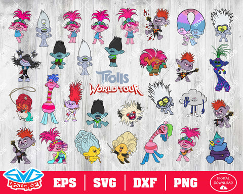 Trolls 2, Trolls World Tour Svg, Dxf, Eps, Png, Clipart, Silhouette and Cutfiles