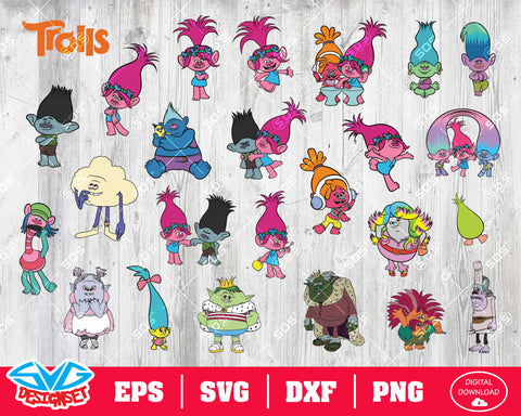 Trolls Svg, Dxf, Eps, Png, Clipart, Silhouette and Cutfiles