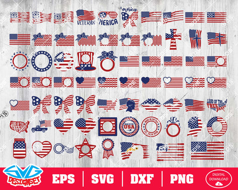 US Flag Bundle Svg, Dxf, Eps, Png, Clipart, Silhouette and Cutfiles