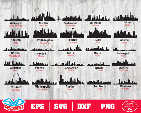 US Skyline Svg, Dxf, Eps, Png, Clipart, Silhouette and Cutfiles #1