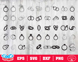Wedding rings Svg, Dxf, Eps, Png, Clipart, Silhouette and Cutfiles