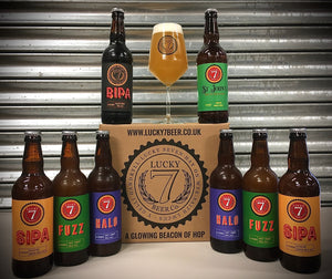 LUCKY 7 Beacon of Hop Box 8 x 500ml Bottles with stemmed glass