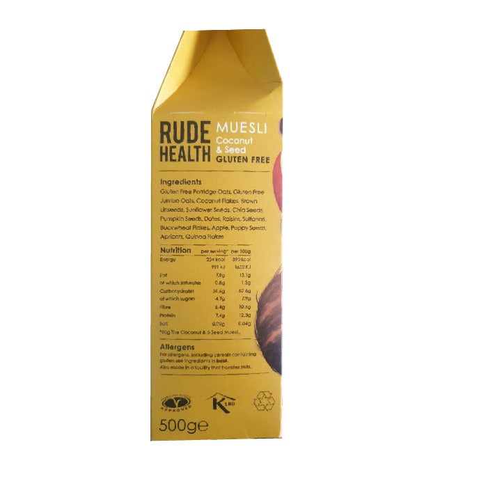 Rude Health Muesli GlutenFree Coconut and Seeds