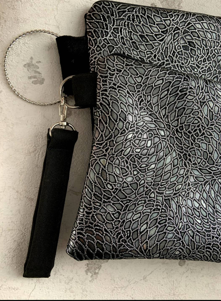 Clutch Handmade Bag, Silver Sequins Mirror.