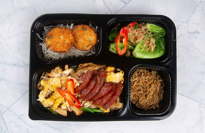 Char Kway Teow Bento with Deep-fried Seafood Cake, Crispy Silver Fish and Seasonal Vegetables