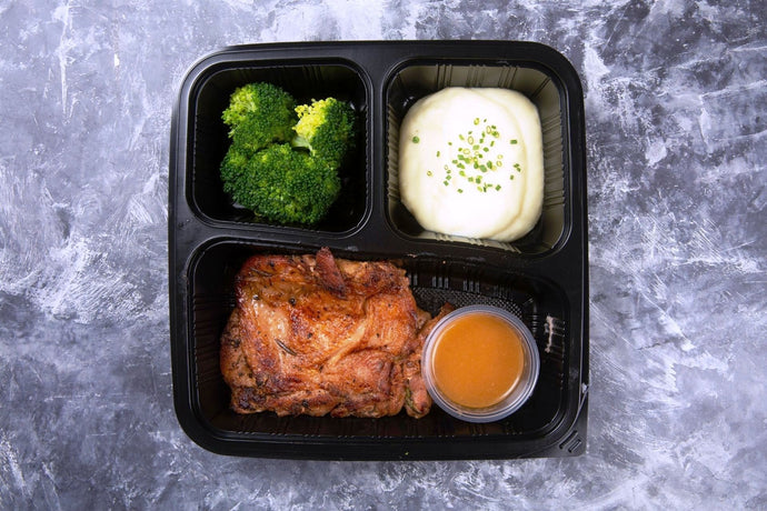 European Spice Chicken Bento with Pomme Mousseline and Broccoli