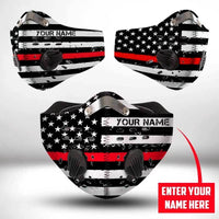 Custom name FIREFIGHTER THIN RED LINE CLOTH FACE MASK WASHABLE PRINTED 3D - BBPL1607TD16