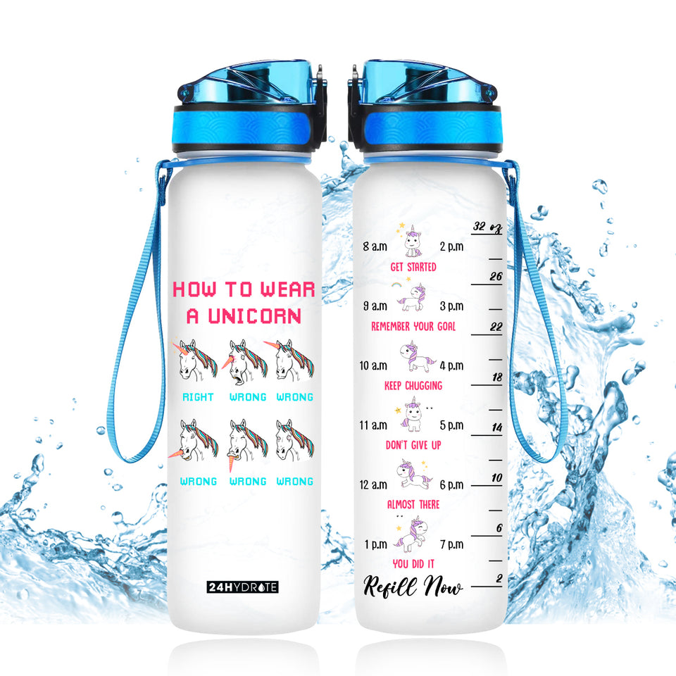 How To Wear A Unicorn Water Tracker Bottle 32oz - MNPO2006GV4_Mads