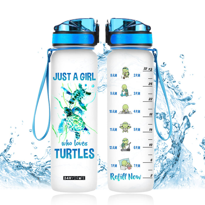 Just a girl who loves turtles Water Tracker Bottle - THPO1506GV10_Thads