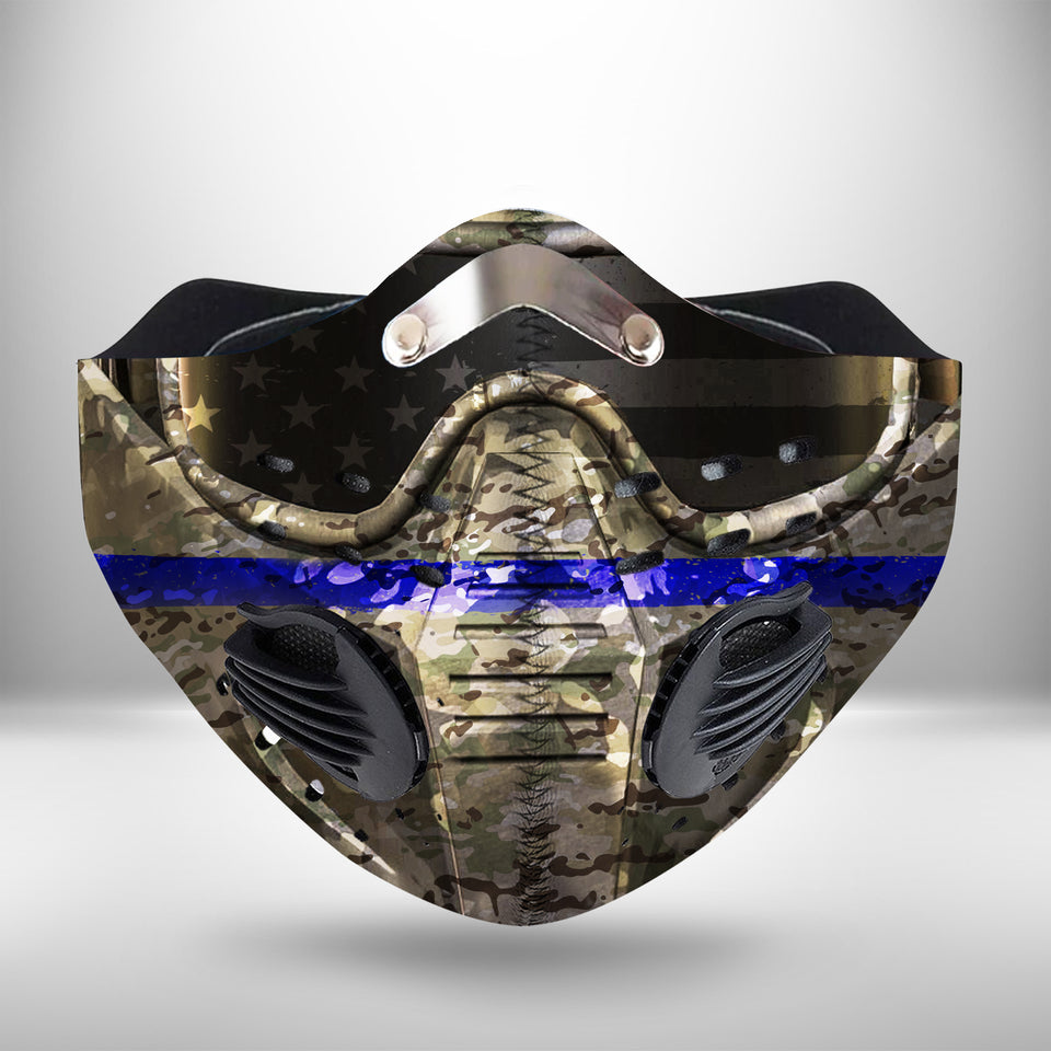 US Police 2 CLOTH FACE MASK WASHABLE PRINTED 3D - BBPL0107GV2_Dads