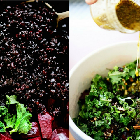 Black Rice, Beet, and Kale Salad with Cider Flax Dressing