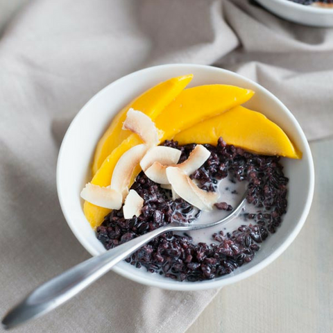 Black Rice Pudding with Coconut & Mango