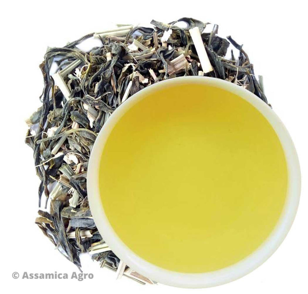 Organic lemongrass Green tea with Ginger | Assamica Agro - Dry Leaves and Brew