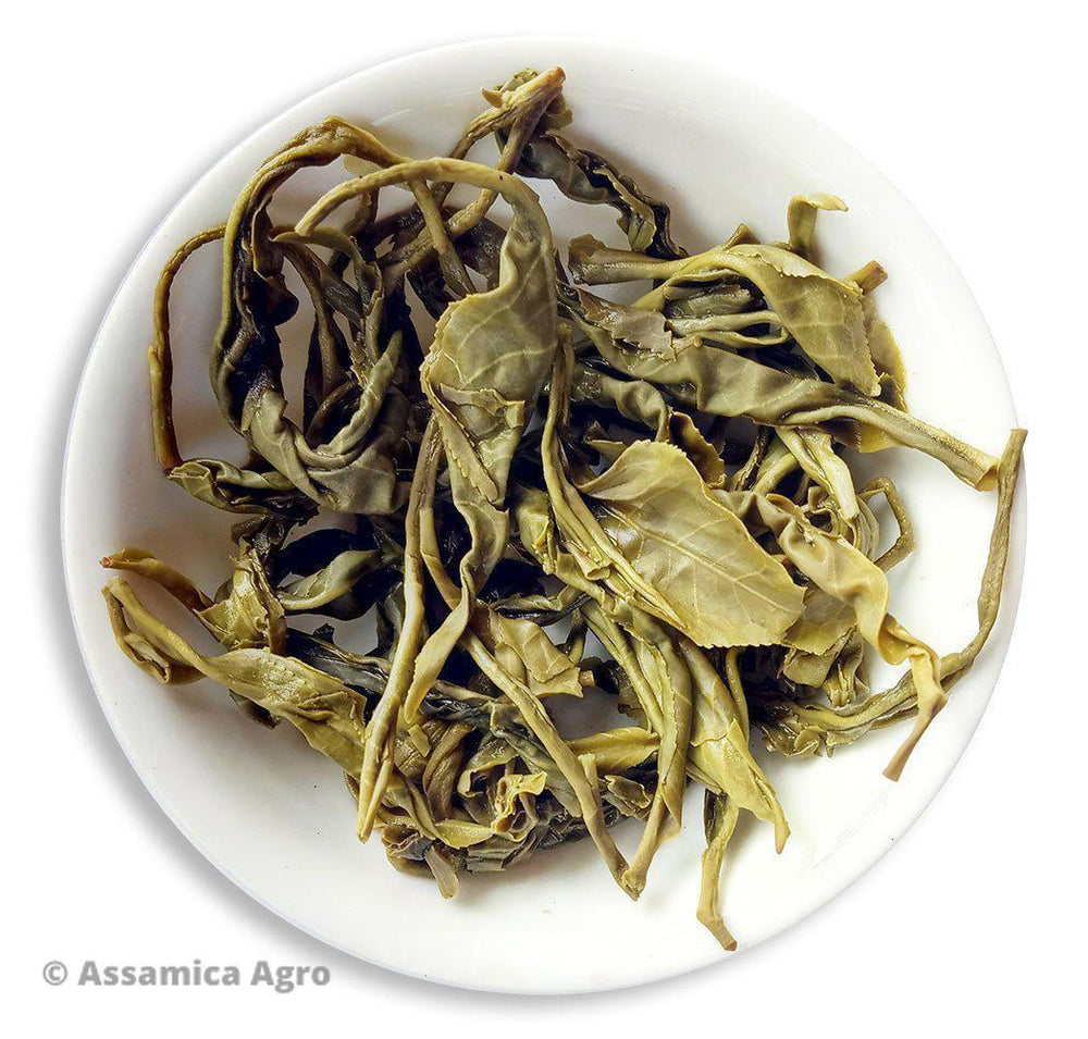 Organic Green Tea: Assam Green Adventure - Wet Leaves
