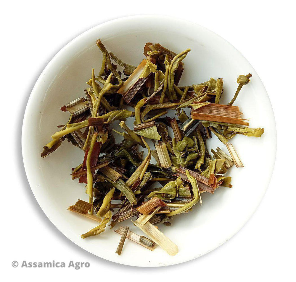 Organic Lemongrass Green Tea - Wet Leaves