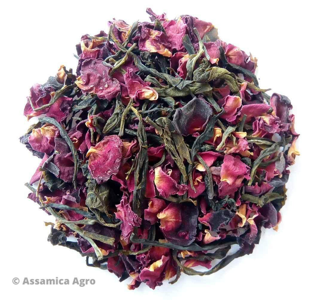 Load image into Gallery viewer, Organic Rose Green Tea: Rose Green Allure - Dry Leaves